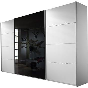 schwebet renschrank kleiderschrank ca 300 cm wei mit spiegel schiebet renschrank amazon. Black Bedroom Furniture Sets. Home Design Ideas