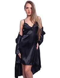 Lingerie robe de chambre nuisette babydoll 2 pieces dentelle satin XL(42-44) pyjama Noir avec string