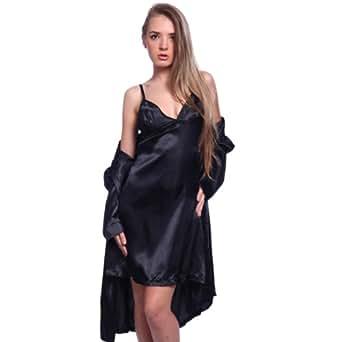 Lingerie robe de chambre nuisette babydoll 2 pieces dentelle satin XXXL(50-52) pyjama Noir avec string