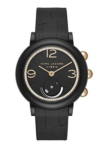 Marc Jacobs Riley Schwarz/Gold Gummi Hybrid-Smartwatch Damenuhr MJT1014