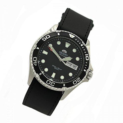 Orient 5 Deep Automatic Day Date Mako II Diving Watch Diver Men's Watch Black Leather Strap FAA02004B