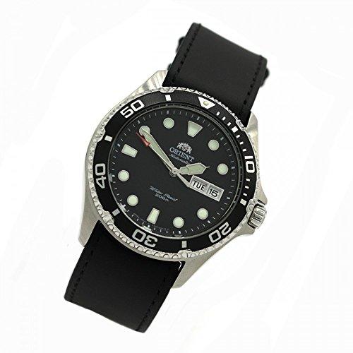 ORIENT 5 Deep Automatik Tag Datum Mako II Taucheruhr Diver Herrenuhr Lederband schwarz FAA02004B