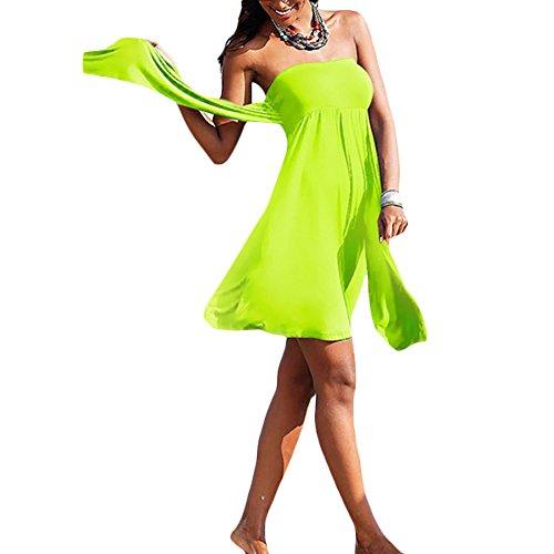 JIAJIA, vestito da mare elastico da donna, Halter Bandeau Light Green