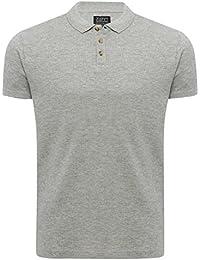D-Struct Mens Short Sleeve Cotton Rich Waffle Texture Pattern Polo Shirt Collar T-Shirt
