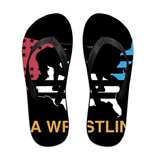 Usa Map Usa Wrestling Unisex Adults Casual Flip-Flops Sandal Pool Party Slippers Bathroom Flats Open Toed Slide Shoes Medium