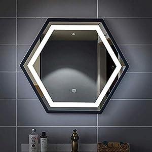 Gjrff Badspiegel Moderne LED-Licht-Spiegel in über Rechteck HD Silber Spiegel mit Sensor + Anti-Beschlag-Pad, IP65, 12V, weißes Licht/warmes Licht