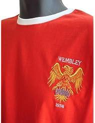 Retro Manchester United 1958 Fußball Kurzarmhemd. Neue Größen von klein bis Übergröße. Aufgesticktes Logo. 100% Baumwolle