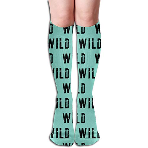 Women's Fancy Design Stocking WILD Coordinate To Little Man Adventure Wild Black And Teal CBS Multi Colorful Patterned Knee High Socks 19.6Inchs