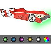 vidaXL Cama para Niños con Forma de Coche de Carreras Luces LED