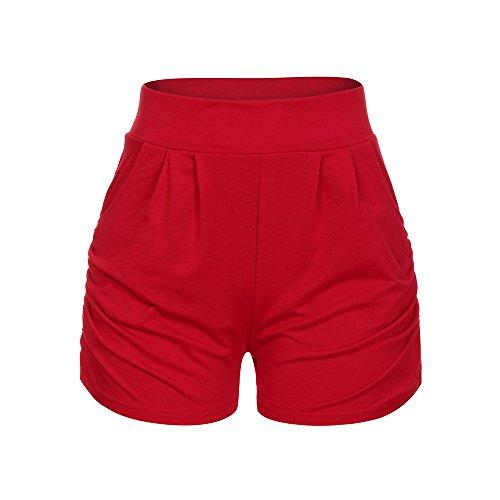 Damen Hotpants Shorts ❤️️ Sommer-Beiläufige Einfarbig Kurze Hose Kurzschlüsse Drucken Sport Yoga Lässige Hoher Taille Boardshorts Freizeit Beach Shorts Strandshorts von LEEDY