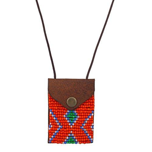Lux accessori tribali arancione e bianco perline partito Pouch archiviazione collana - Tribal Pouch