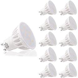 LOHAS 6W GU10 Lot de 10 LED Blanc Froid, 6000K, 500lm, Équivalente à Incandescence 50W, 120° Larges Faisceaux,Ampoule LED GU10,Spot Light Lampe