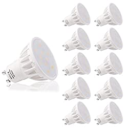 GU10 LED, LOHAS 6W Lampe, kaltweiss 6000K, 500LM, Ersatz für 50W Halogenlampen, Reflektor, LED Lampe, LED Birnen, LED Leuchtmittel, Nicht Dimmbar, 120 Grad Abstrahlwinkel, 10er Pack