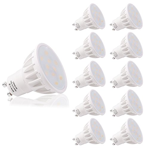 LOHAS 6W GU10 Lot de 10 LED Blanc Froid, 6000K, 500lm, Équivalente à Incandescence 50W, 120° Larges Faisceaux,Ampoule LED GU10,Spot Light Lampe