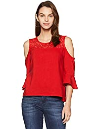 Akkriti By Pantaloons Women's Rayon Tunic Top (205000005872263_Red_X-Large)