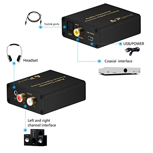 Portta Audio Converter Optical SPDIF Toslink Coax Coaxial zu RCA RL Analog Preimum Konverter Unterstützung 3.5mm Jack 24-bit 192kHz DAC - 3