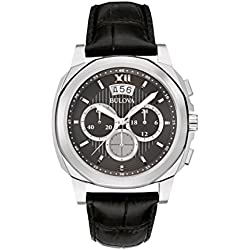 Bulova Classic Dress Men's Quartz Watch with Black Dial Analogue Display and Black Leather Strap 96B218