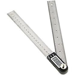 UEETEK de acero inoxidable de 200 mm Angle Finder regla electrónica goniómetro transportador de ángulos digital con escala métrica Inglés