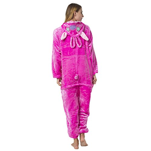 Kostüme Kinder Halloween Partner (Katara 1744 - Stitch rosa Kostüm-Anzug Onesie/Jumpsuit Einteiler Body für Erwachsene Damen Herren als Pyjama oder Schlafanzug Unisex - viele verschiedene)