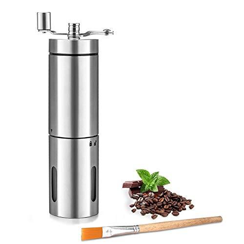 Qibingshy macina caffè manuale - portatile in acciaio inossidabile mano macinacaffè macina in ceramica con spazzola di pulizia
