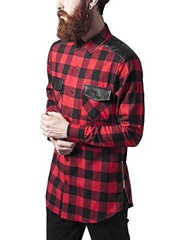 Urban Classics Herren Freizeithemd Side Zip Leather Shoulder Flanell Shirt Mehrfarbig (Blk/Red 44), Large