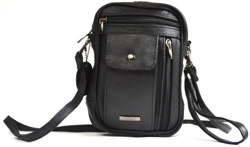 Umhängetasche aus echtem Leder mit mehreren Reißverschlusstaschen und Fach für Handy oder Brille (hellbraun, rot, schwarz) Schwarz