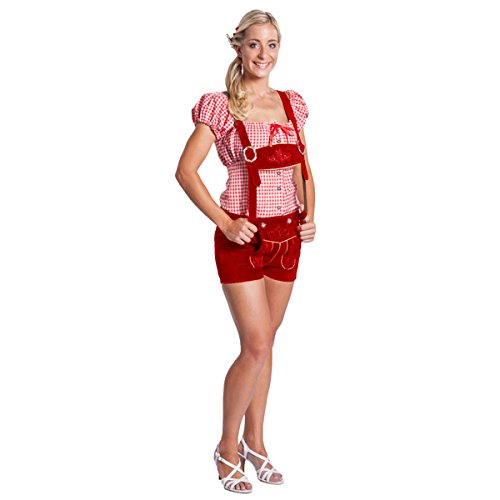 FROHSINN Damen Trachten Lederhose Kurz Bayern (Farbe: rot,Grösse 36: Bundweite: 80-83 cm) - Original Oktoberfest