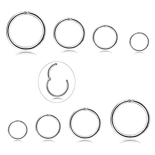 Milacolato 4 Pairs Edelstahl 16G Sleeper Ohrringe Septum Clicker Nase Lip Ring Piercing