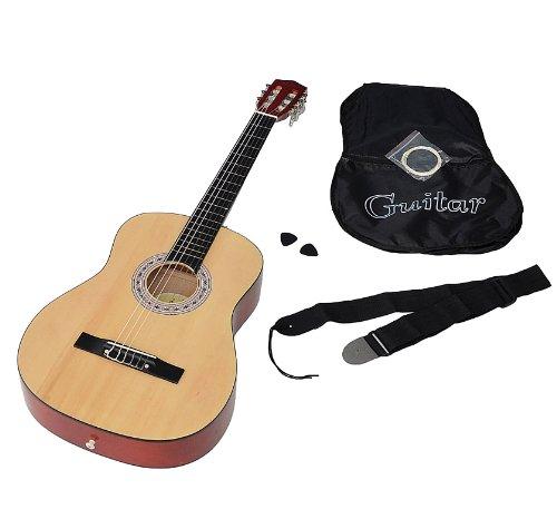Ts-ideen 5268 Guitare de concert classique acoustique avec Etui/Corde de rechange/Médiator/Sangle Natu