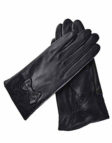 YISEVEN Damen Schwarze Lederhandschuhe echtes Schaffell Leder Touchscreen Handschuhe-8.5