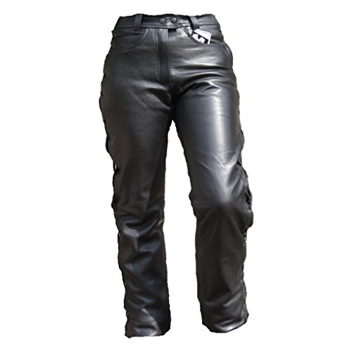 *Skorpion Damen Schürjeans Motorradlederhose aus glattem Rinderleder, schwarz, Gr.: 38*