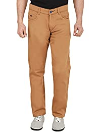 Nimegh Brown Colored Cotton Casual Slim Fit Solid Trouser For Men's