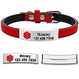 Berry Personalisierte Hundehalsbänder mit graviertem ESA-Hundemarken – Edelstahl zum Aufschieben von Hundemarken für Kleine Hunde und Katzen, Schwarz, Rot, XS, S