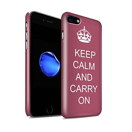 STUFF4 Glanz Snap-On Hülle / Case für Apple iPhone 8 / Schnurrbart/Lila Muster / Bleib Ruhig Kollektion Mach Weiter/Braun