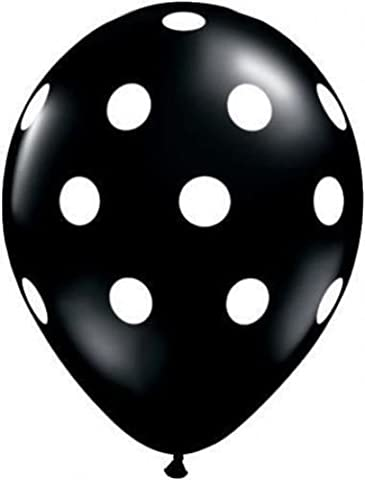 Onyx Black Big Polka Dots Qualatex 11
