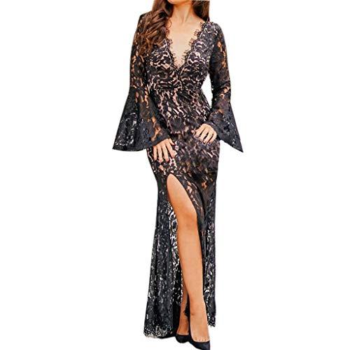 Lang Kleider,2019 Mode Frauen Reizvolle Spitze Sleeveless Dünnes Kleid Druck Hohle Maxi Kleid Partei Kleider Evansamp(Schwarz,XL) ()