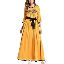 Zhhlinyuan Modesto Vestido de Traje árabe Mujer Farasha Vestidos de Kaftan Marroquí para Mujeres ...