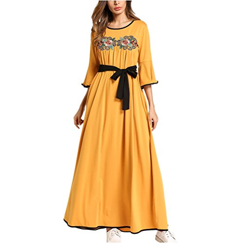 Zhhlinyuan Modesto Vestido de Traje árabe Mujer Farasha Vestidos de Kaftan Marroquí para Mujeres Casual Dubai