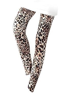 Tinksky Pantalones estampados de estampado de leopardo de las mujeres Pantalones flacos de nueve pantalones elásticos...