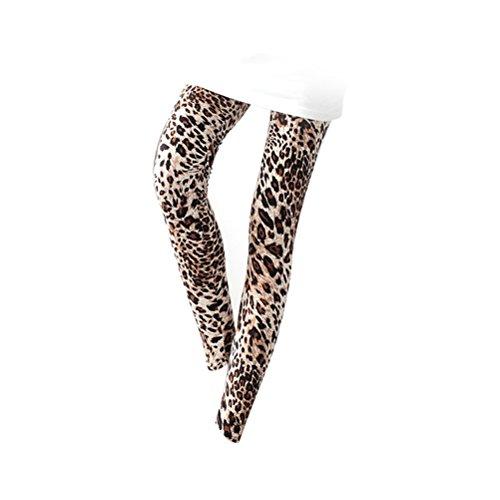 Tinksky Pantalones estampados de estampado de leopardo de las mujeres Pantalones flacos de nueve pantalones elásticos, regalo del día de la madre o regalo para las mujeres