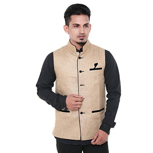 Twist Mens Sleeveless Festive Nehru Jacket Casual Wear Plain Waistcoat (Beige)  available at amazon for Rs.899