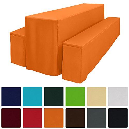 Beautissu Comfort L Gepolsterte Bierbankhusse & Tisch-Husse 3 tlg. Set Bodenlang für 70cm Festzeltgarnituren Orange
