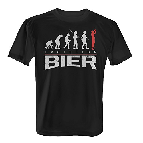 Fashionalarm Herren T-Shirt - Evolution Bier | Fun Shirt mit lustigem Motiv für Vatertag Herrentag Oktoberfest Party Feiern Alkohol Trinken, Farbe:schwarz;Größe:XL (Trinken-shirt Bier)