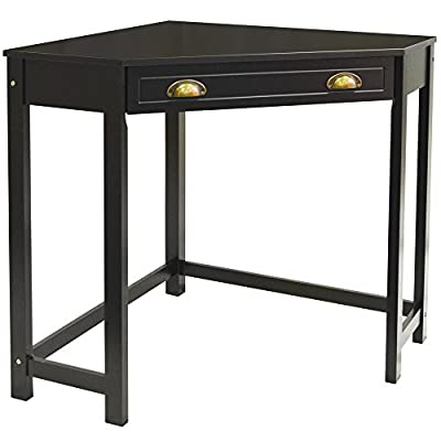 HAVEN - Compact Wooden Corner Computer Desk / Dressing Table / Craft Workstation - Black produced by WATSONS - quick delivery from UK.