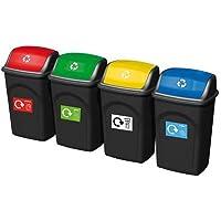 SHS–Manipulación wb0984papelera de reciclaje, 400mm longitud x 350mm de ancho x 680mm Altura, 50litros de capacidad (Pack de 4)