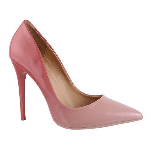 Elara Spitze Damen Pumps | Bequeme Lack Stilettos | Elegante High Heels GH11302 Pink-40