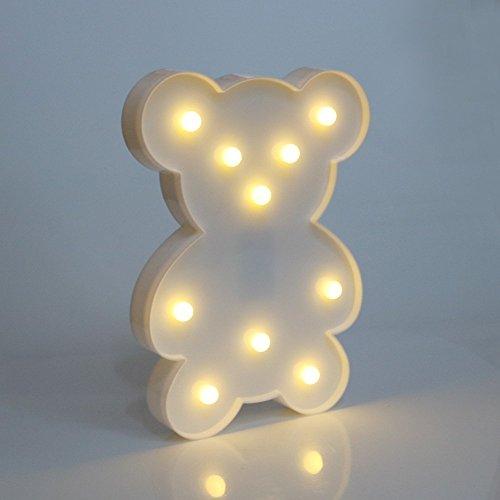 Bär Form LED Nachtlicht Festzelt Zeichen Tischlampe Batteriebetrieb Wandlicht für Kinder Baby Kinder Schlafzimmer Weihnachten Geburtstag Dekoration(Weiß)