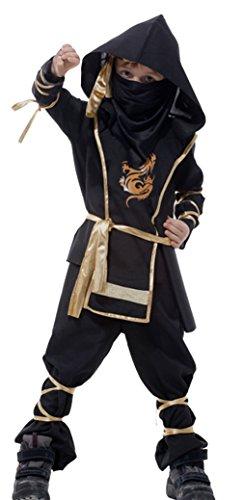 ungen Schwarz Ninja Kostüm Karneval Faschingskostüm Cosplay M (Samurai-rüstung Halloween-kostüm)