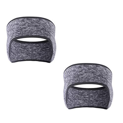 AYPOW Winter Stirnband Ohr wärmer, 2 Pack leichte warme Fleece Material Full Cover Ohrenschützer Sport Schweißband Multifunktions Stirnbänder für Erwachsene Männer und Frauen
