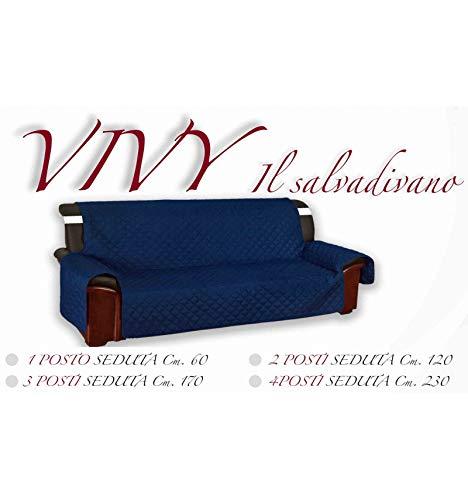 tex family COPRIDIVANO Blu SALVADIVANO VIVY Trapuntato Piano Liscio Blu - 3 POSTI Seduta cm. 170